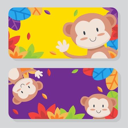 Cute colorful monkey card set