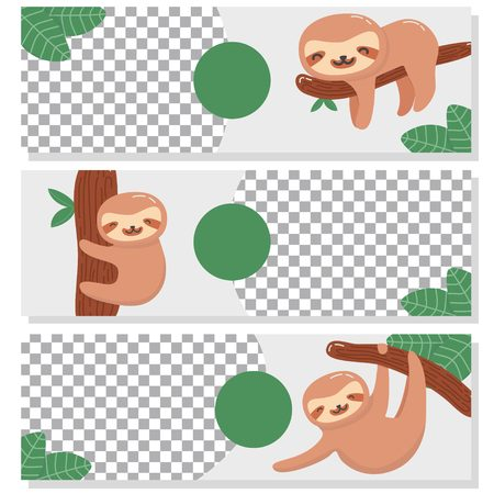 Cute sloth banner set template Vettoriali