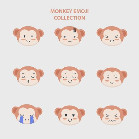 Cute monkey emoji collection