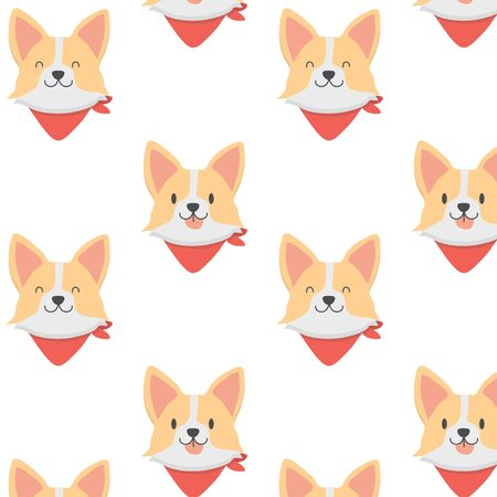 Cute baby corgi dog pattern