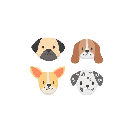 Cute baby dog face set