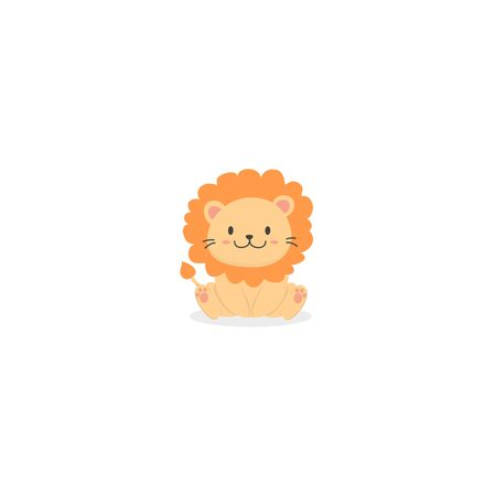 Cute baby lion icon
