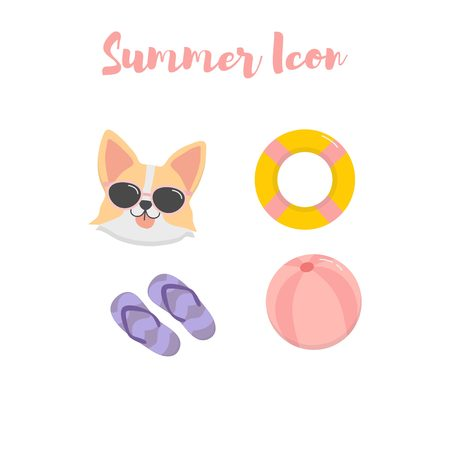 Cute summer icon set with dog