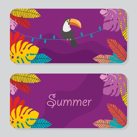 Cute summer card set collection