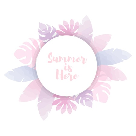 Cute summer background watercolor style