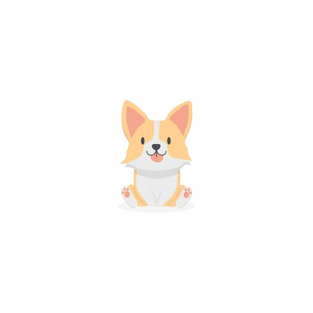 Cute baby corgi dog icon
