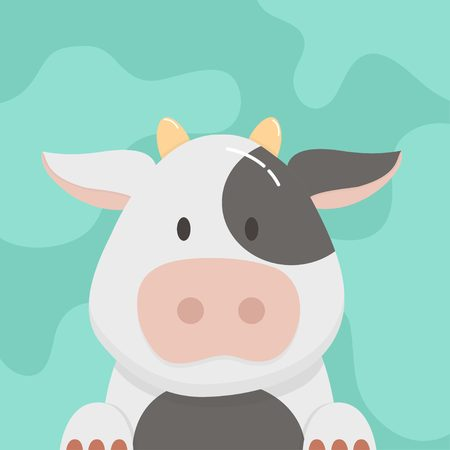 Cute cartoon baby cow vector Vettoriali