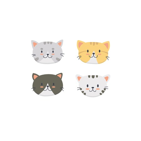 Cute cat face set collection