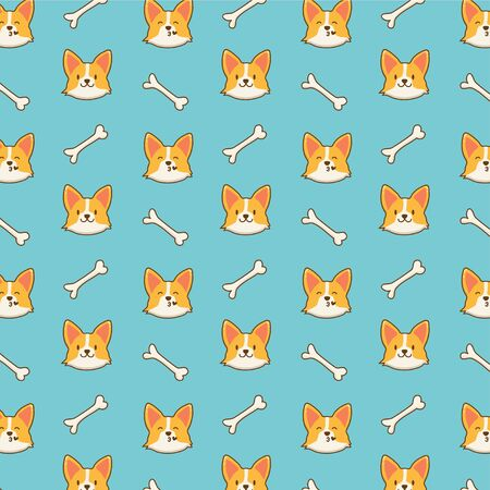 Cute corgi dog pattern