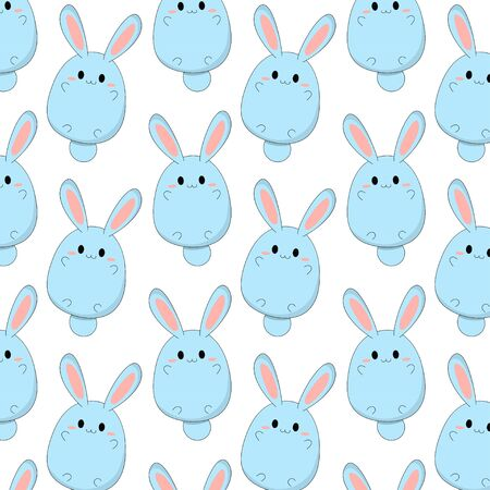 Cute blue rabbit pattern Vettoriali
