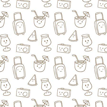 Cute summer doodle pattern Ilustração