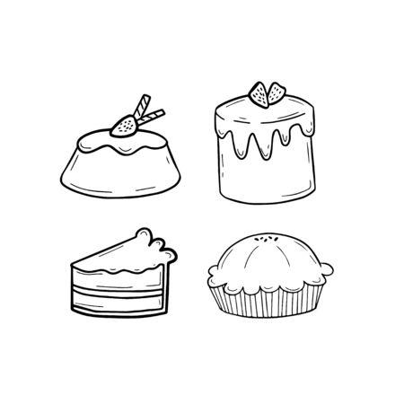 Cute cake doodle set