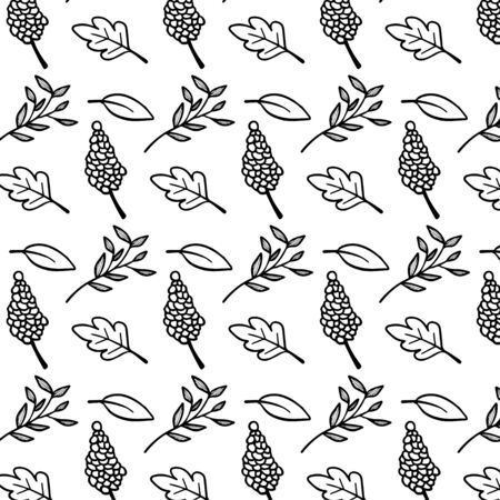 Leaf doodle pattern vector Ilustração