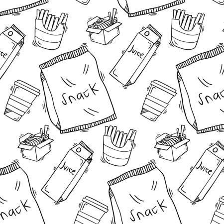 Snack food doodle pattern