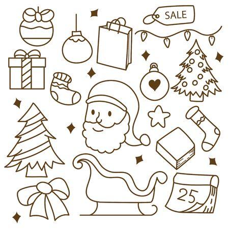 Cute christmas doodle set