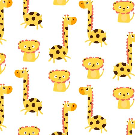 Cute animal doodle pattern