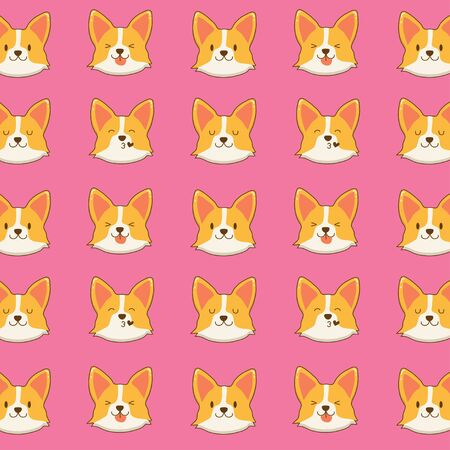 Cute corgi face pattern