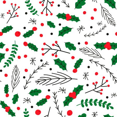 Cute christmas leaves pattern