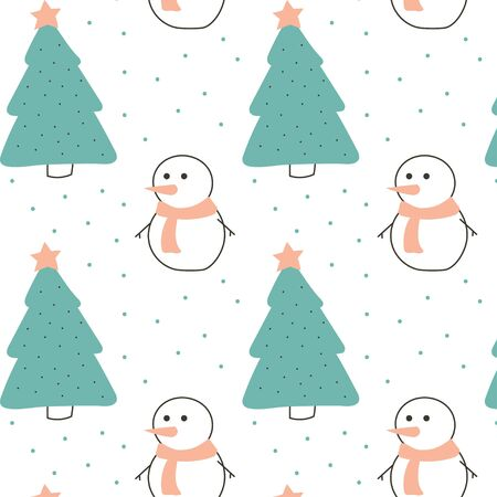 Cute christmas pattern with snowman Vettoriali