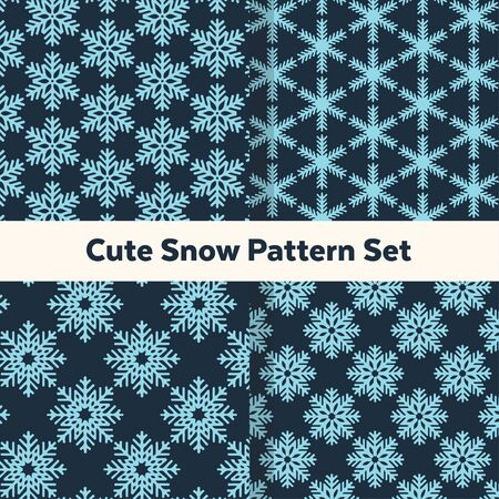 Cute blue snow pattern set