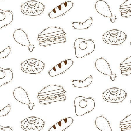 Cute doodle food pattern