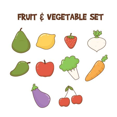 Cute fruit and vegetable set