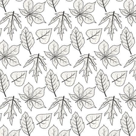 Cute autumn doodle leaves pattern