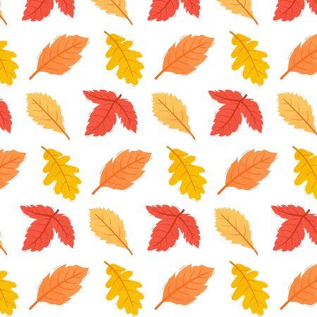 Cute autumn leaves pattern Vettoriali