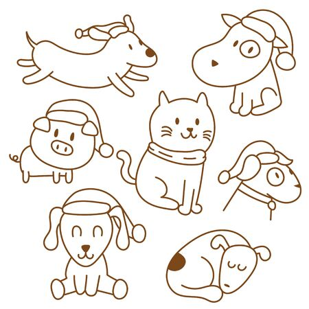 Cute animals doodle set collection Vettoriali