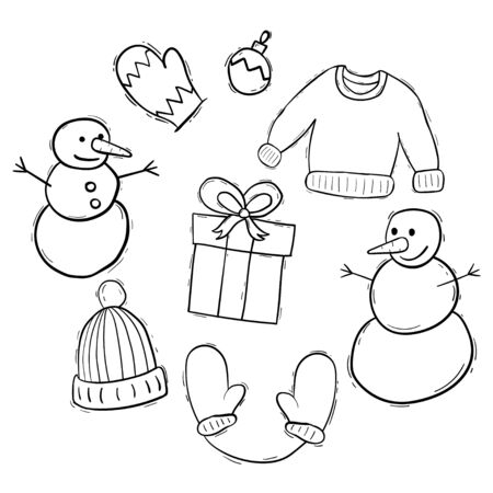 Christmas elements doodle set collection Vettoriali