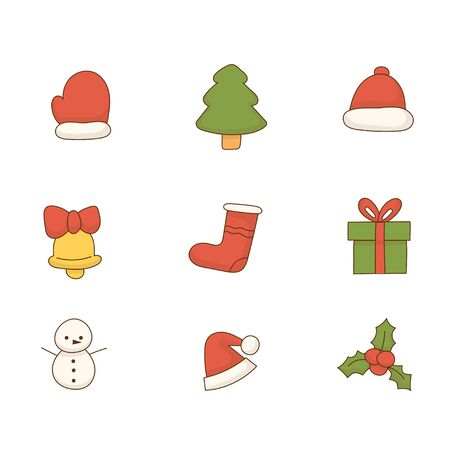 Christmas icon set collection