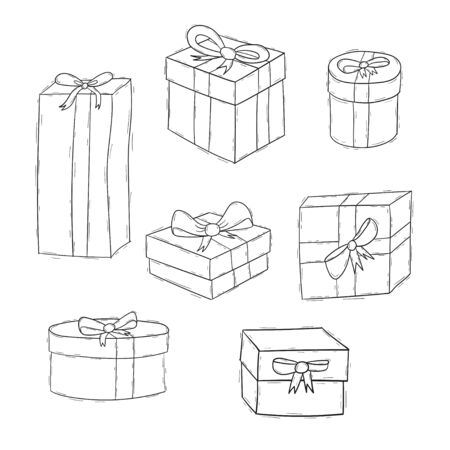 Present box doodle set collection