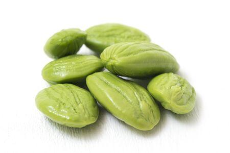Parkia speciosa ( petai, bitter bean, twisted cluster bean, stinker or stink bean) on white background.