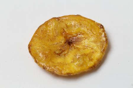 Sweet banana chips isolated on white background