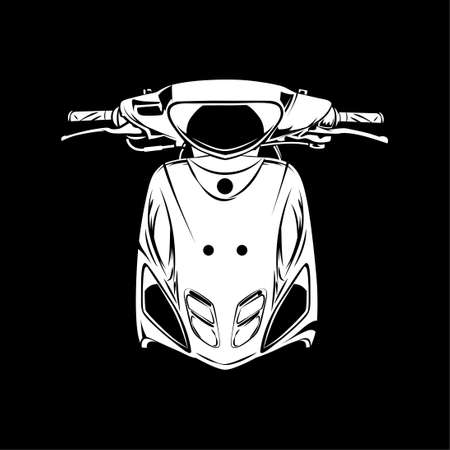 Vector illustration of Retro Scooter matic motorcycle silhouette on Black background. Can be used for printed on motorcycle club t-shirt, background, banner, posters, web, etc.