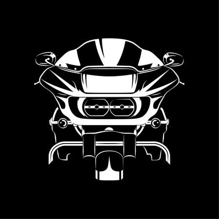 Vector illustration of Road Touring motorcycle silhouette on Black background. Can be used for printed on motorcycle club t-shirt, background, banner, posters, icon, web, etc. Vecteurs