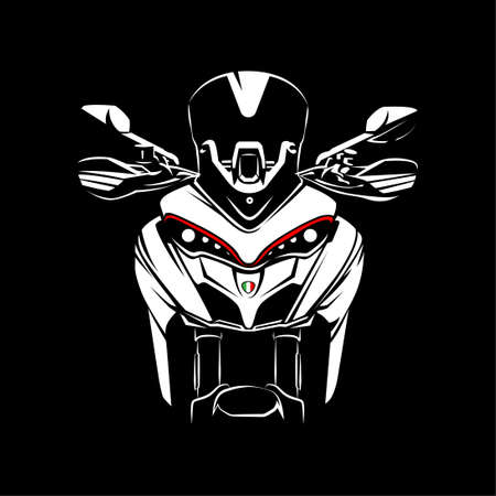 Adventure Motorcycle silhouette on Black background. Can be used for printed on motorcycle club t-shirt, background, banner, posters, icon, web, etc.
