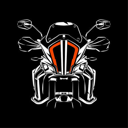 Vector illustration of Standard Touring Motorcycle silhouette on Black background. Perfect for printed on t-shirt, background, banner, posters, etc.