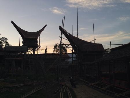toraja: Building lumbung house at toraja - indonesia Stock Photo