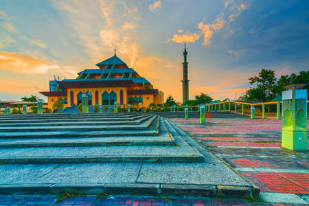 Blue Hour in Batam City Mosque Interesting sights in the mosque of batam city at blue hour, the mosque looks so beautiful and magnificent this photo was taken 15 December 2017