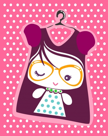 cute girl with necklace Vector