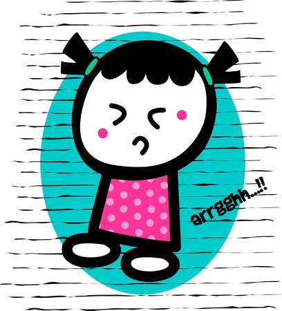 funny face girl in a polkadot clothes, confused and shocked,circles and lines background Vector