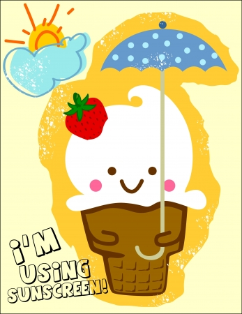 ice cream holding an umbrella on a sunny day Vector