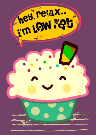low fat cupcake Vector