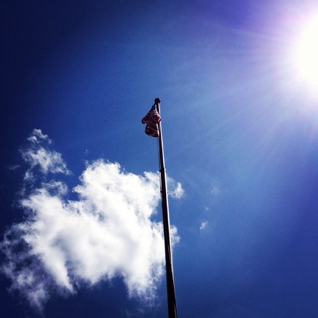 restful: Shot of a restful American flag at a local park