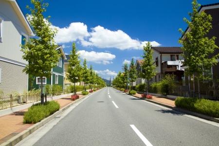 woonwijk en de manier Stockfoto