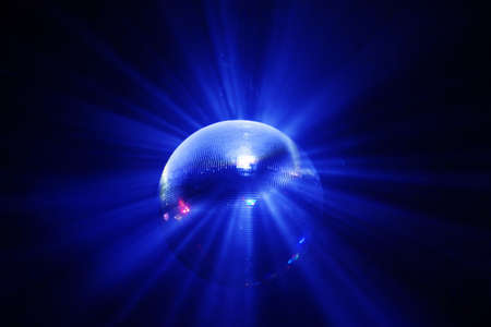 blue shining discoball  mirrorball in motion Stock Photo