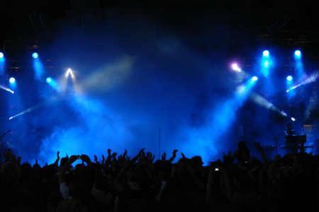 Jubelnden Menschenmenge in Konzert, Musiker auf der Bühne  Standard-Bild - 1543740