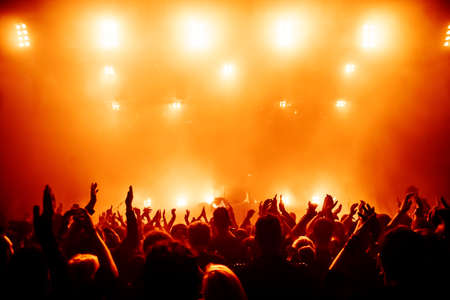 stage actors: silhouettes of concert crowd in front of bright stage lights Stock Photo