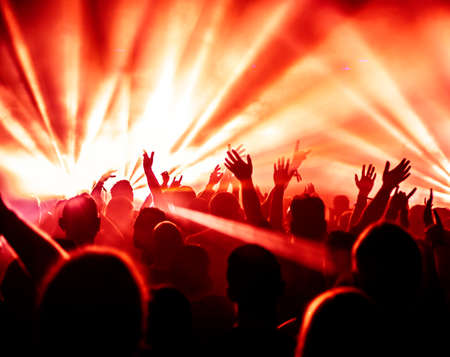 light show: Cheering crowd at concert rock concert